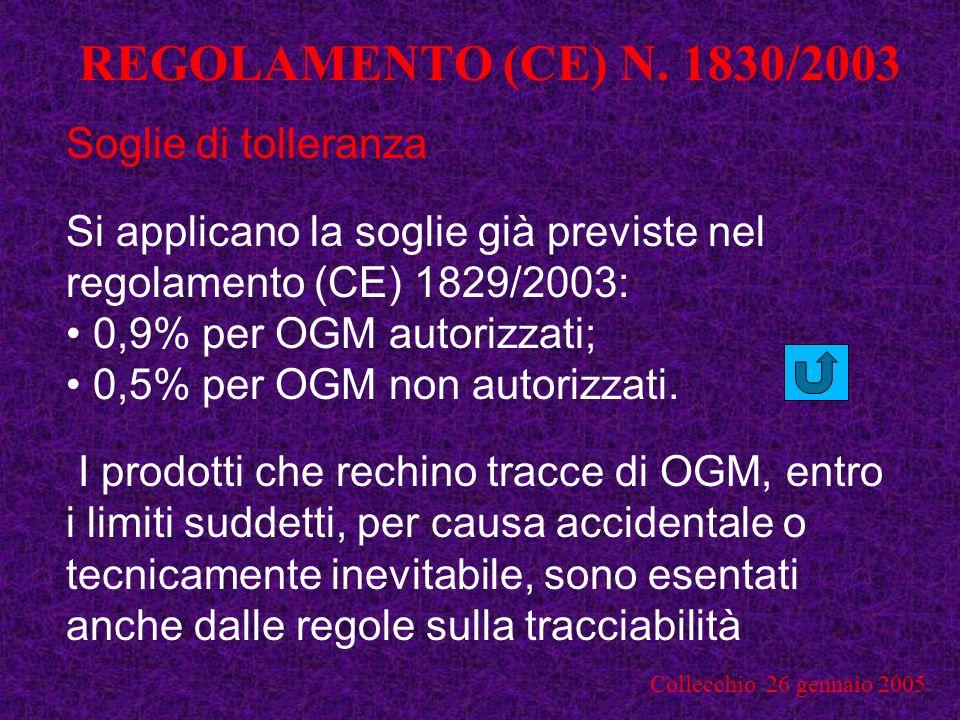REGOLAMENTO (CE) N. 1830/2003 Soglie di tolleranza