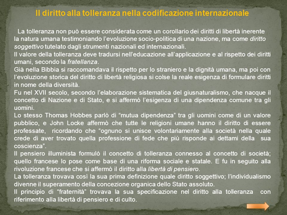 Il diritto alla tolleranza nella codificazione internazionale