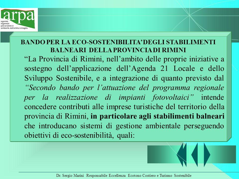 BANDO PER LA ECO-SOSTENIBILITA' DEGLI STABILIMENTI BALNEARI DELLA PROVINCIA DI RIMINI