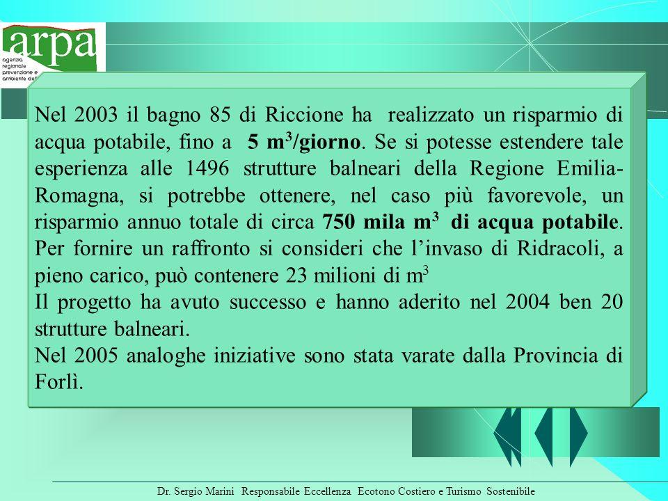 Nel 2003 il bagno 85 di Riccione ha realizzato un risparmio di acqua potabile, fino a 5 m3/giorno. Se si potesse estendere tale esperienza alle 1496 strutture balneari della Regione Emilia-Romagna, si potrebbe ottenere, nel caso più favorevole, un risparmio annuo totale di circa 750 mila m3 di acqua potabile. Per fornire un raffronto si consideri che l'invaso di Ridracoli, a pieno carico, può contenere 23 milioni di m3