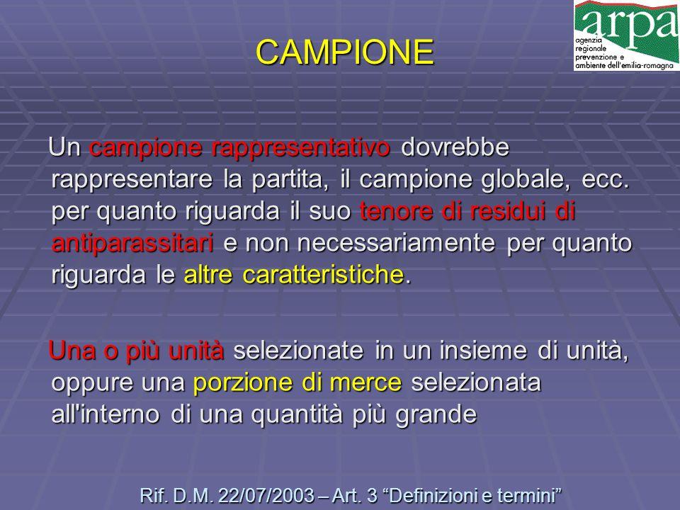 Rif. D.M. 22/07/2003 – Art. 3 Definizioni e termini
