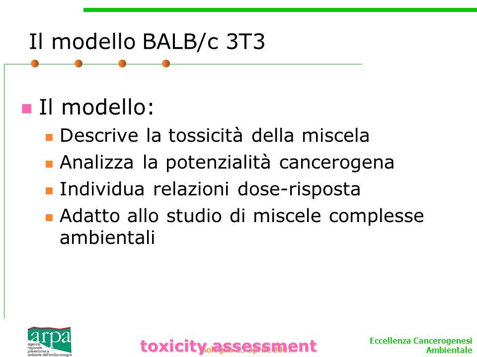 Il modello BALB/c 3T3 Il modello: Descrive la tossicità della miscela