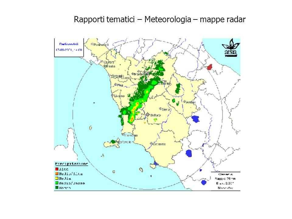 Rapporti tematici – Meteorologia – mappe radar