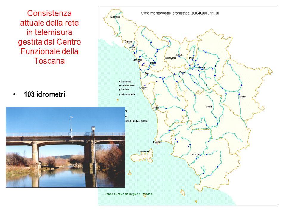 Consistenza attuale della rete in telemisura gestita dal Centro Funzionale della Toscana