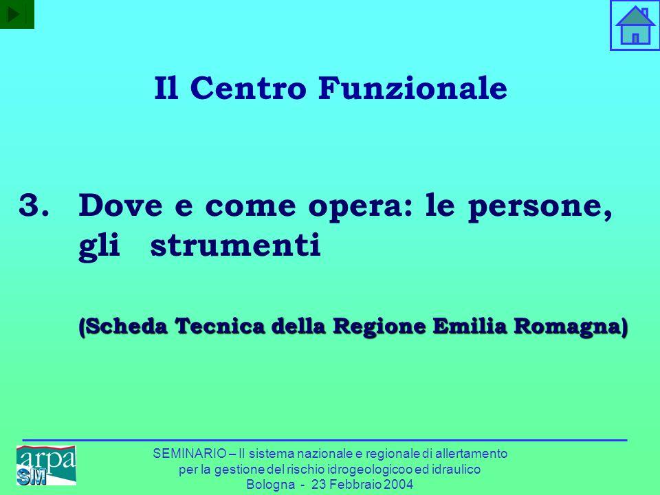 Il Centro Funzionale Dove e come opera: le persone, gli strumenti (Scheda Tecnica della Regione Emilia Romagna)