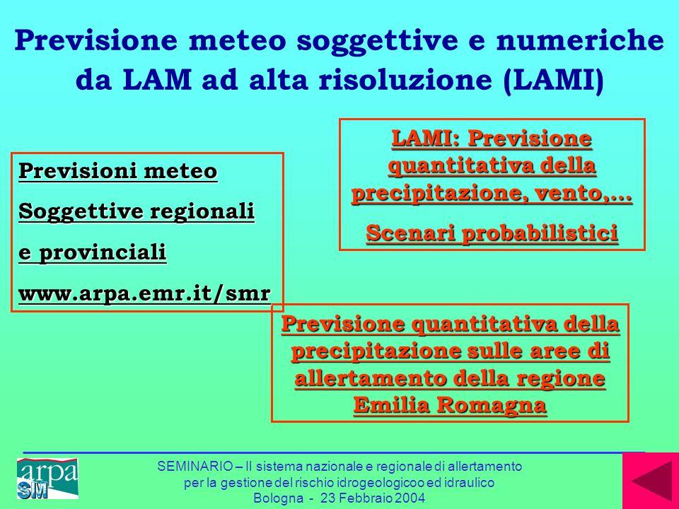 Previsione meteo soggettive e numeriche da LAM ad alta risoluzione (LAMI)