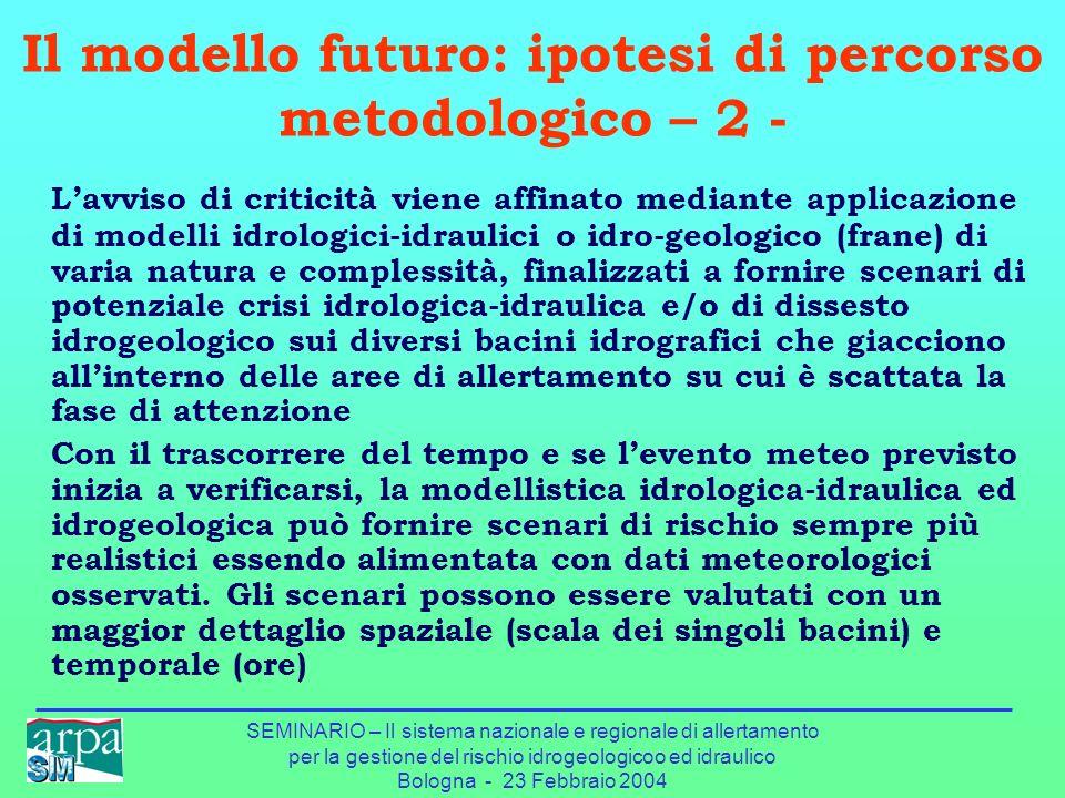 Il modello futuro: ipotesi di percorso metodologico – 2 -