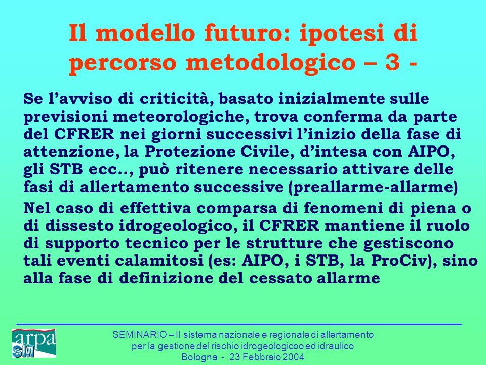 Il modello futuro: ipotesi di percorso metodologico – 3 -