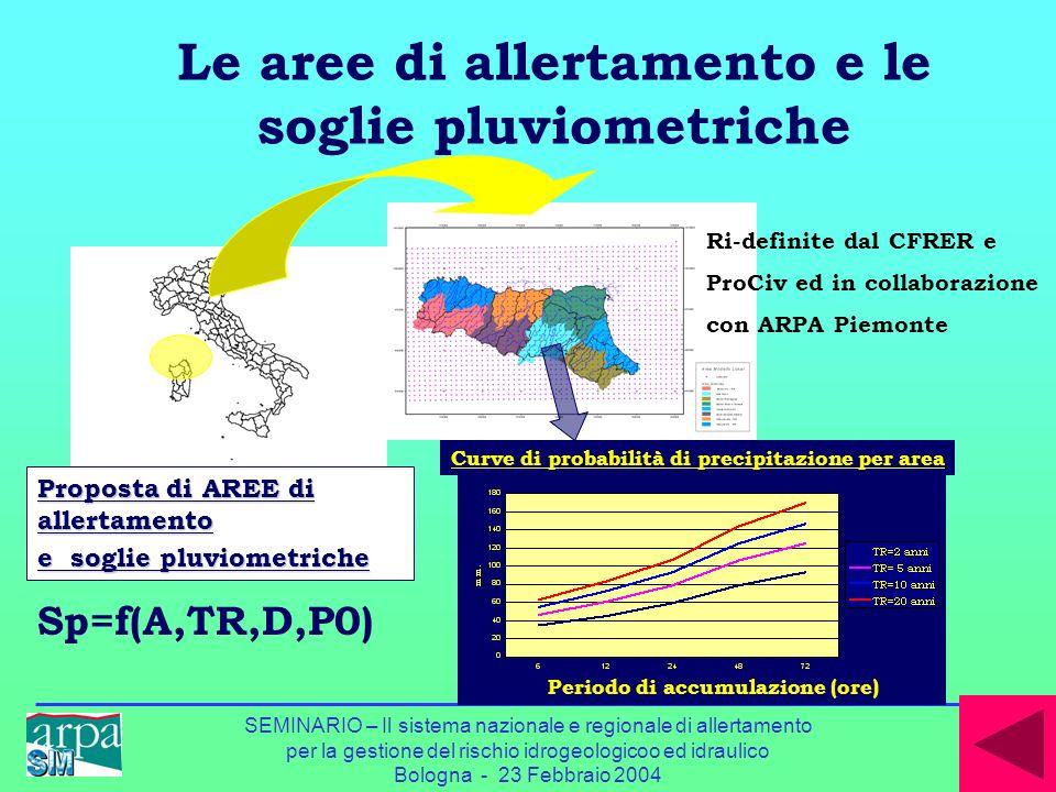 Le aree di allertamento e le soglie pluviometriche