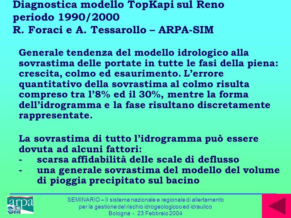 Diagnostica modello TopKapi sul Reno periodo 1990/2000 R. Foraci e A