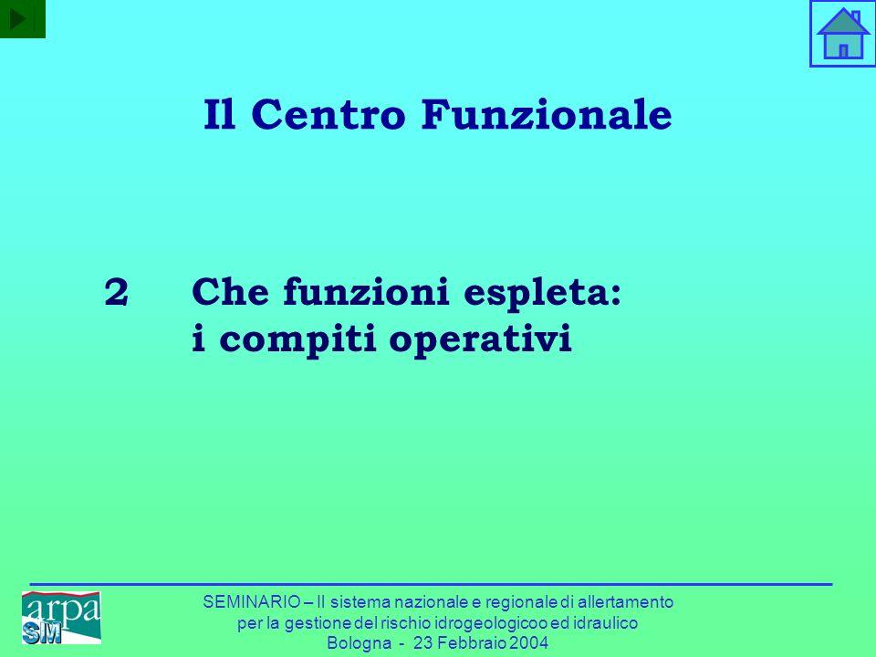 Il Centro Funzionale 2 Che funzioni espleta: i compiti operativi
