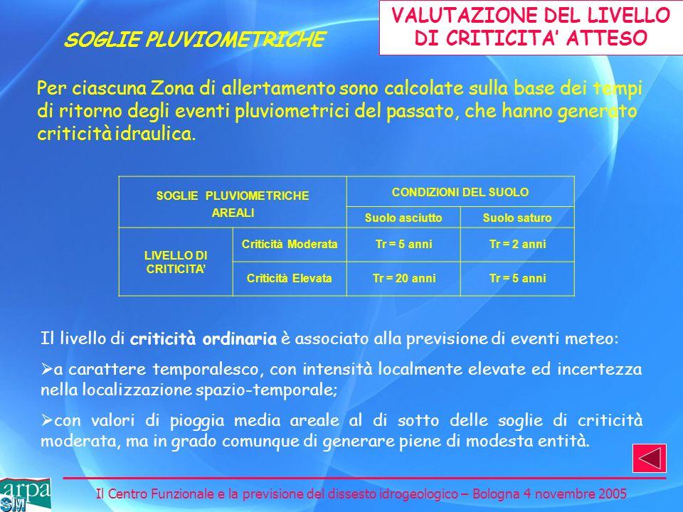 VALUTAZIONE DEL LIVELLO DI CRITICITA' ATTESO