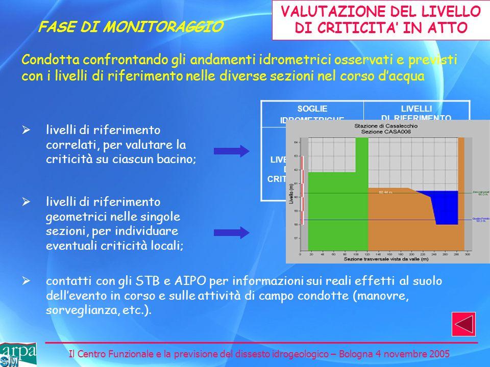 VALUTAZIONE DEL LIVELLO DI CRITICITA' IN ATTO