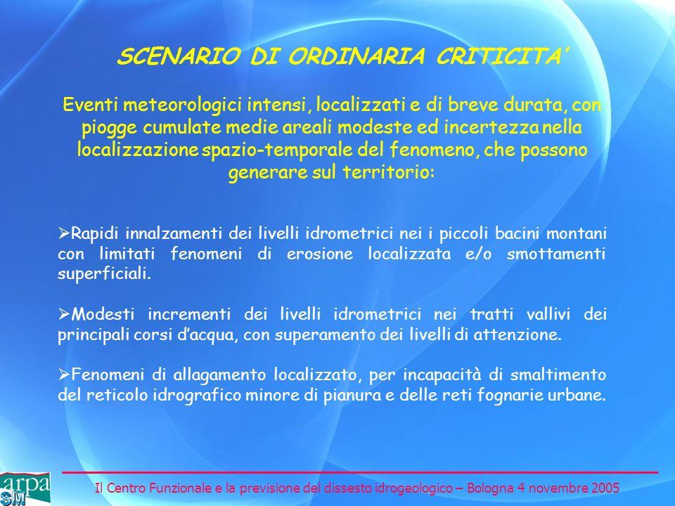 SCENARIO DI ORDINARIA CRITICITA'