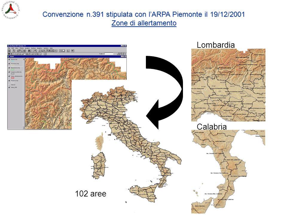 Lombardia Calabria 102 aree