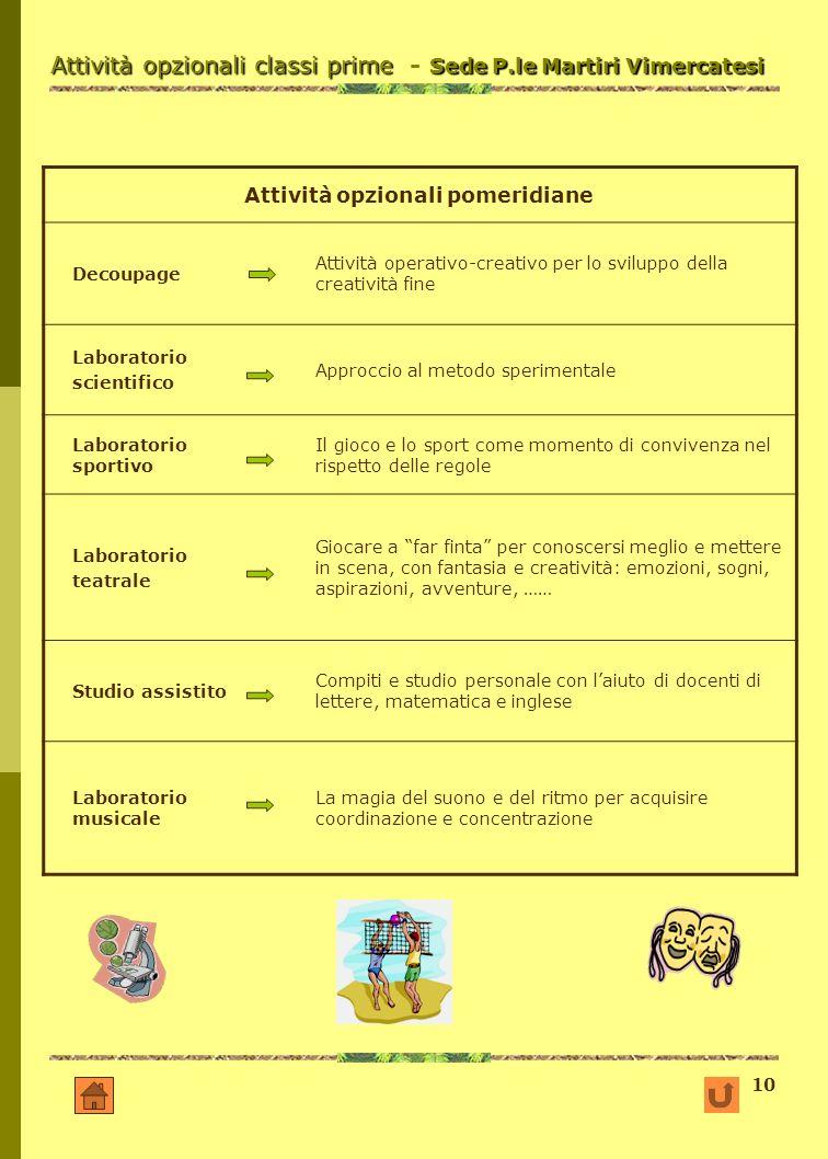 Attività opzionali classi prime - Sede P.le Martiri Vimercatesi