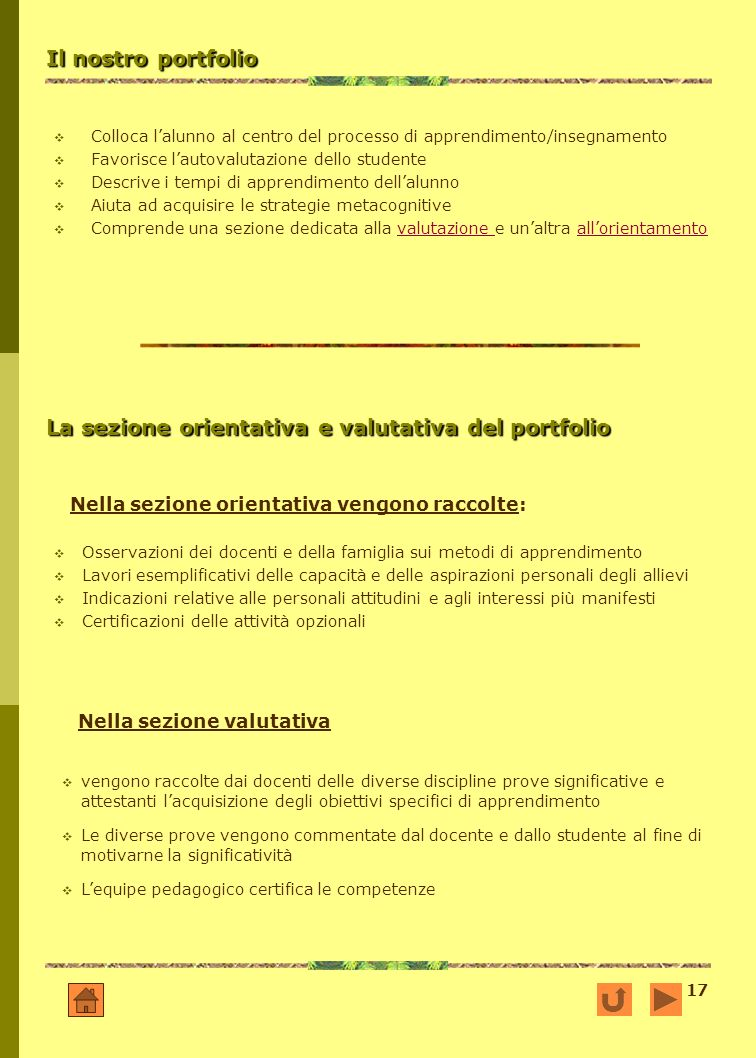 La sezione orientativa e valutativa del portfolio