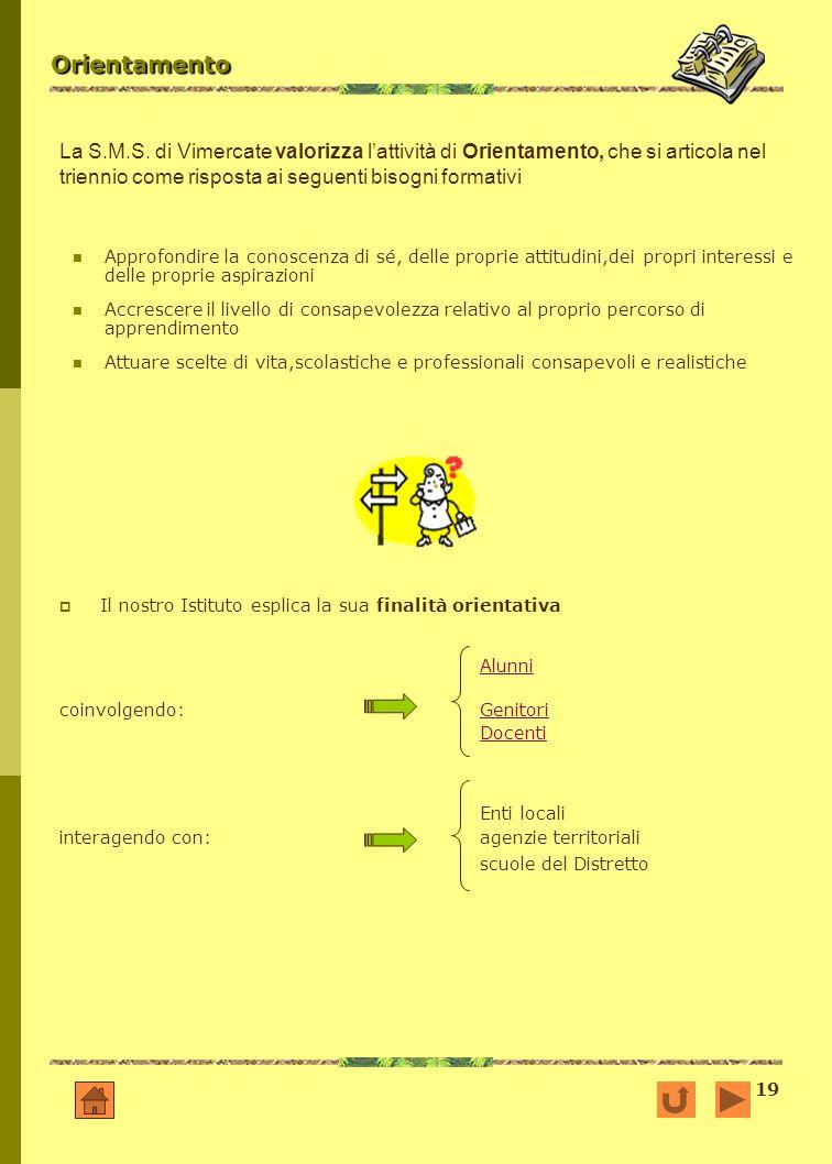 Orientamento La S.M.S. di Vimercate valorizza l'attività di Orientamento, che si articola nel triennio come risposta ai seguenti bisogni formativi.