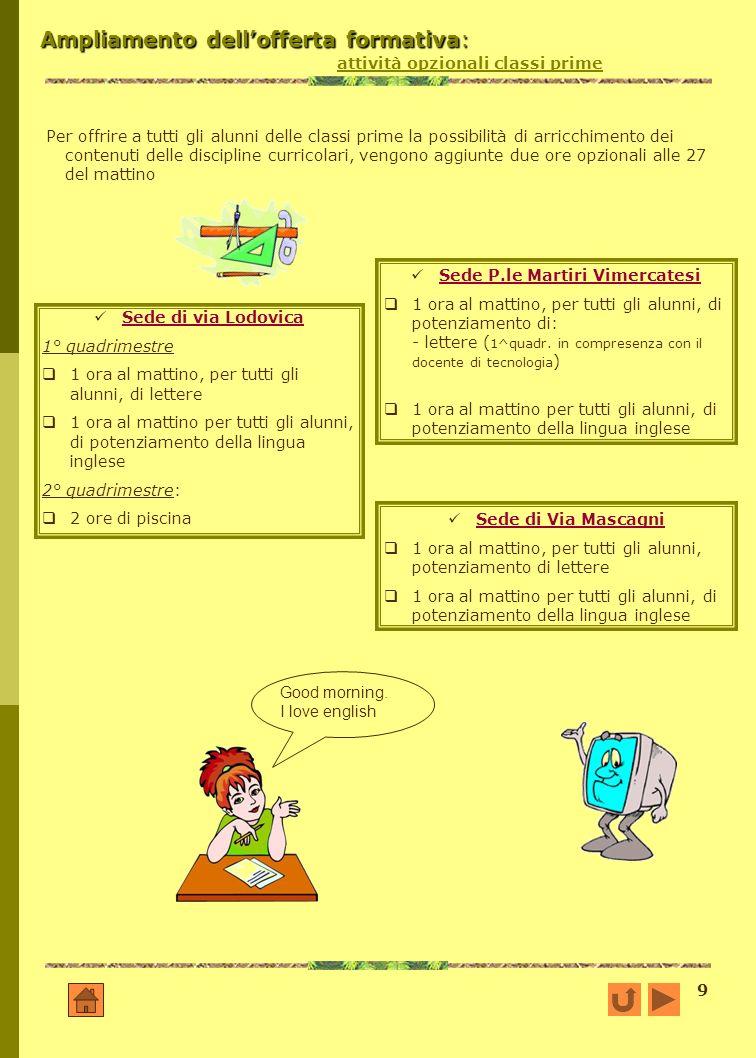 Ampliamento dell'offerta formativa: attività opzionali classi prime