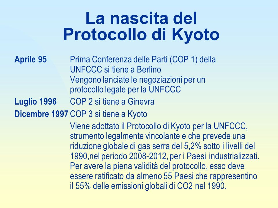 La nascita del Protocollo di Kyoto