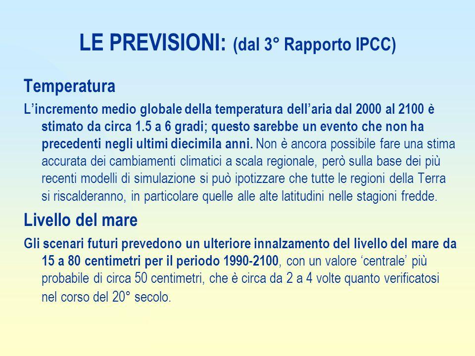 LE PREVISIONI: (dal 3° Rapporto IPCC)