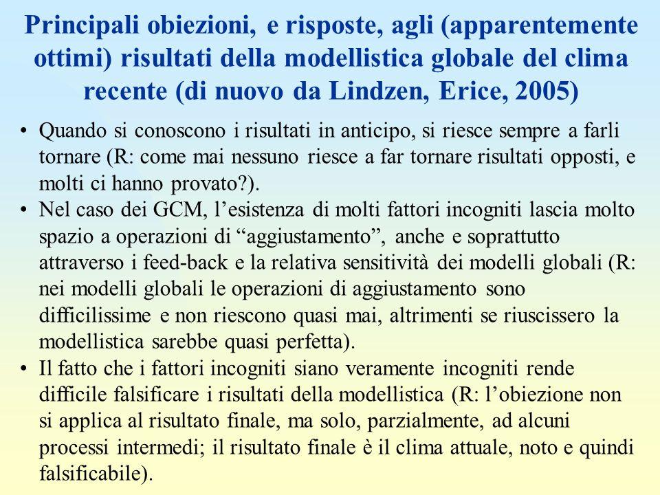 Principali obiezioni, e risposte, agli (apparentemente ottimi) risultati della modellistica globale del clima recente (di nuovo da Lindzen, Erice, 2005)