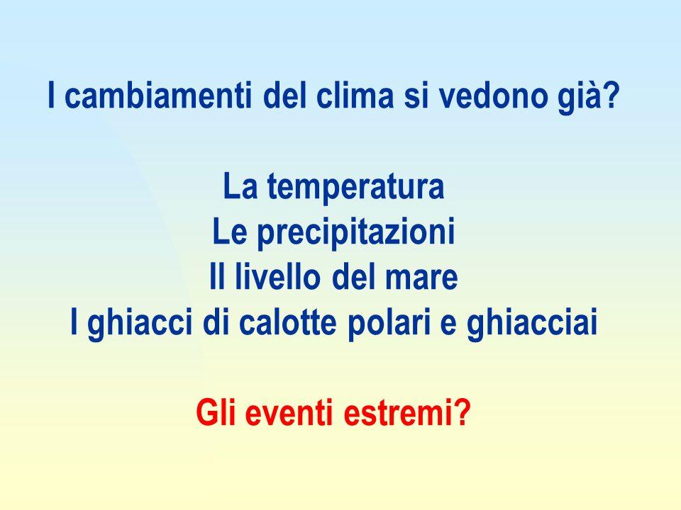 I cambiamenti del clima si vedono già La temperatura