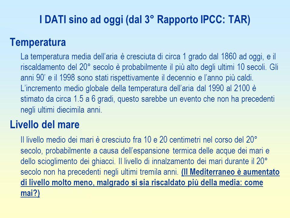 I DATI sino ad oggi (dal 3° Rapporto IPCC: TAR)