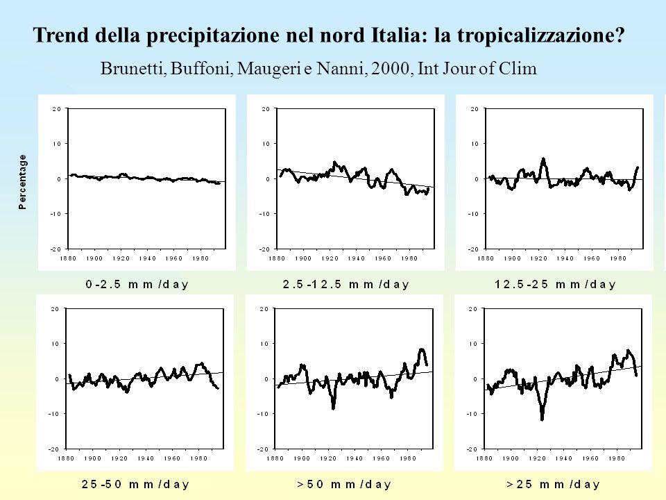 Trend della precipitazione nel nord Italia: la tropicalizzazione
