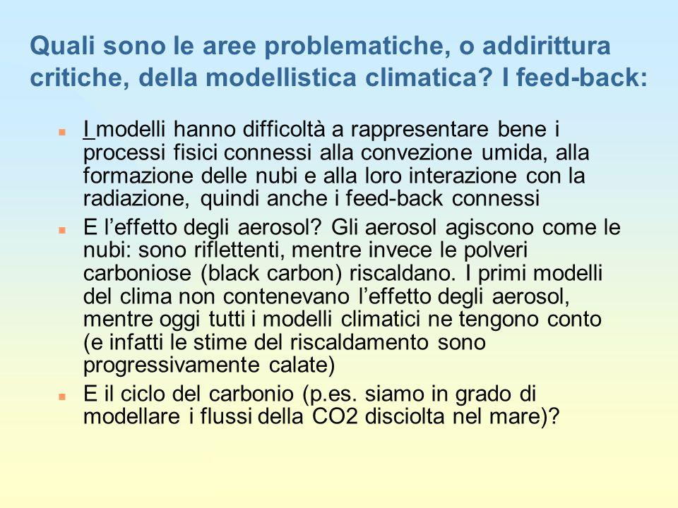 27/03/2017 Quali sono le aree problematiche, o addirittura critiche, della modellistica climatica I feed-back: