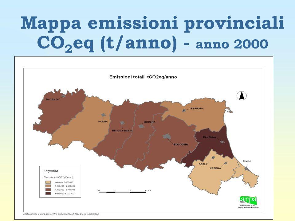 Mappa emissioni provinciali CO2eq (t/anno) - anno 2000
