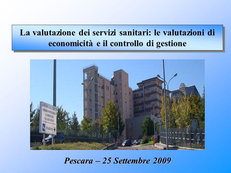 La valutazione dei servizi sanitari: le valutazioni di economicità e il controllo di gestione