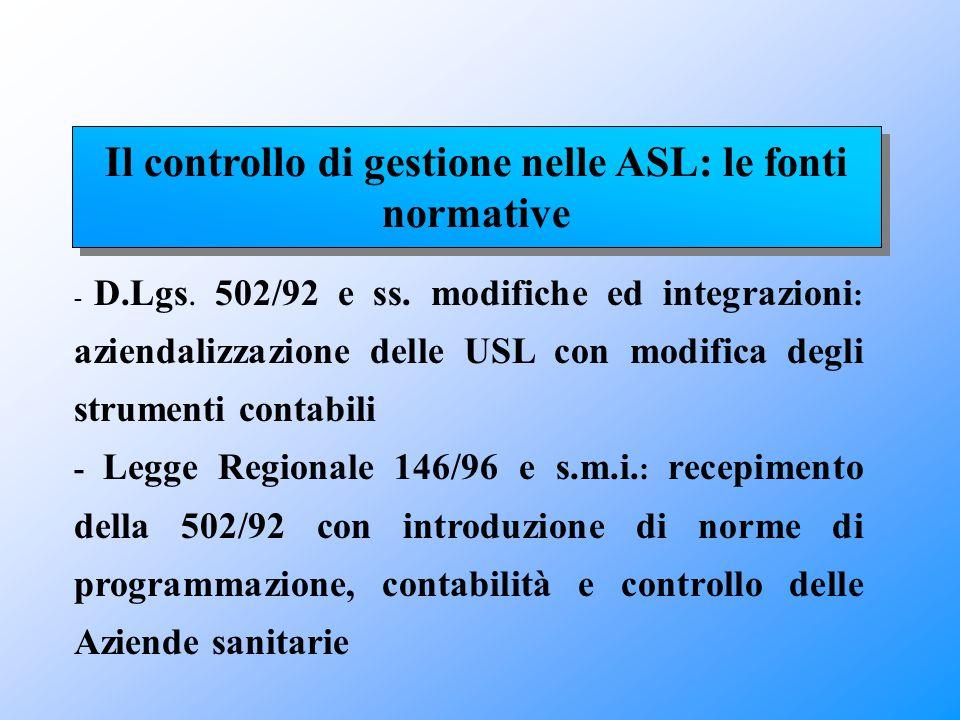 Il controllo di gestione nelle ASL: le fonti normative