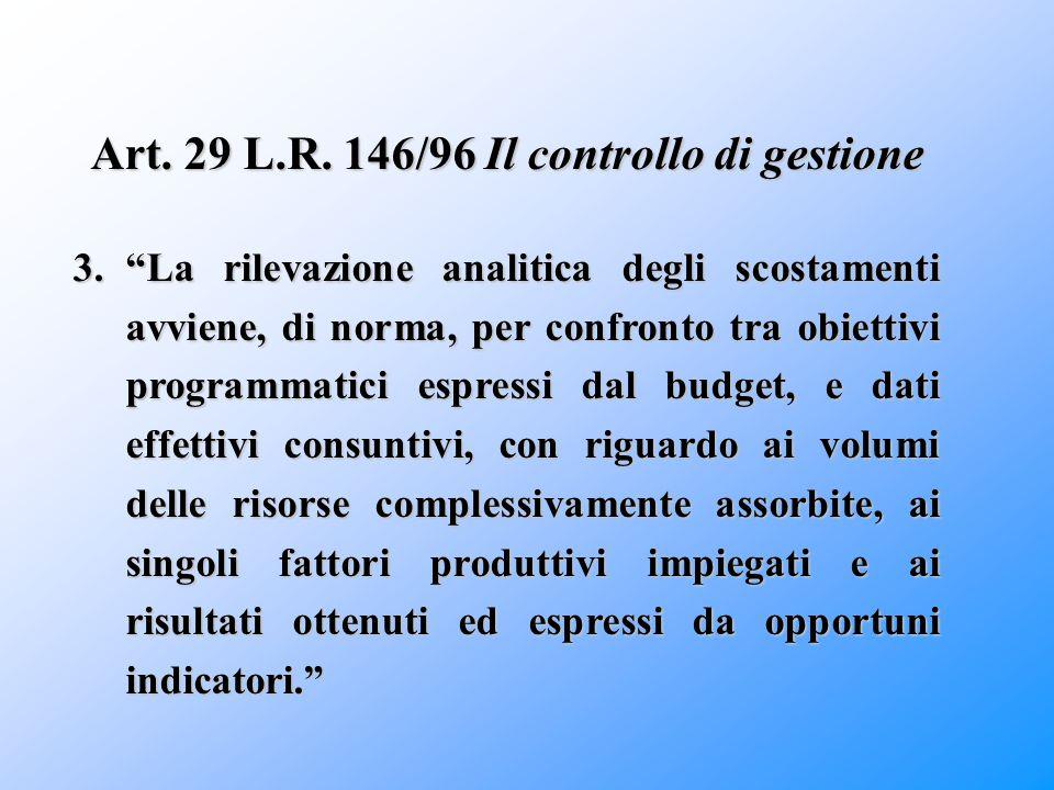 Art. 29 L.R. 146/96 Il controllo di gestione
