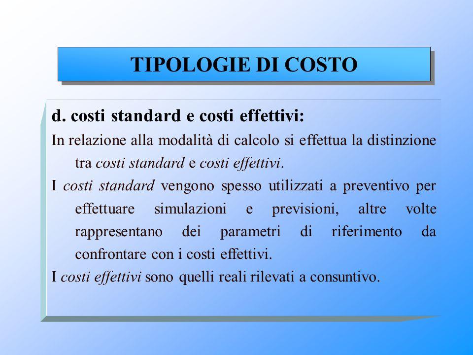 TIPOLOGIE DI COSTO d. costi standard e costi effettivi: