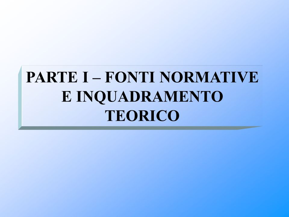 PARTE I – FONTI NORMATIVE E INQUADRAMENTO TEORICO