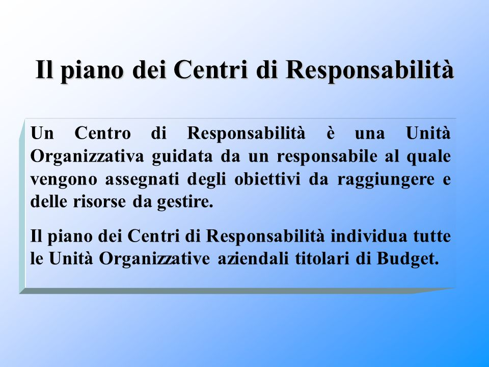 Il piano dei Centri di Responsabilità