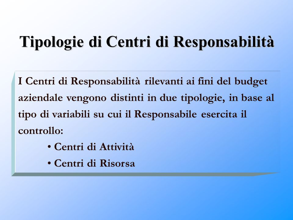Tipologie di Centri di Responsabilità