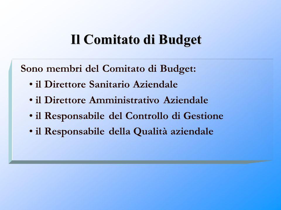 Il Comitato di Budget Sono membri del Comitato di Budget: