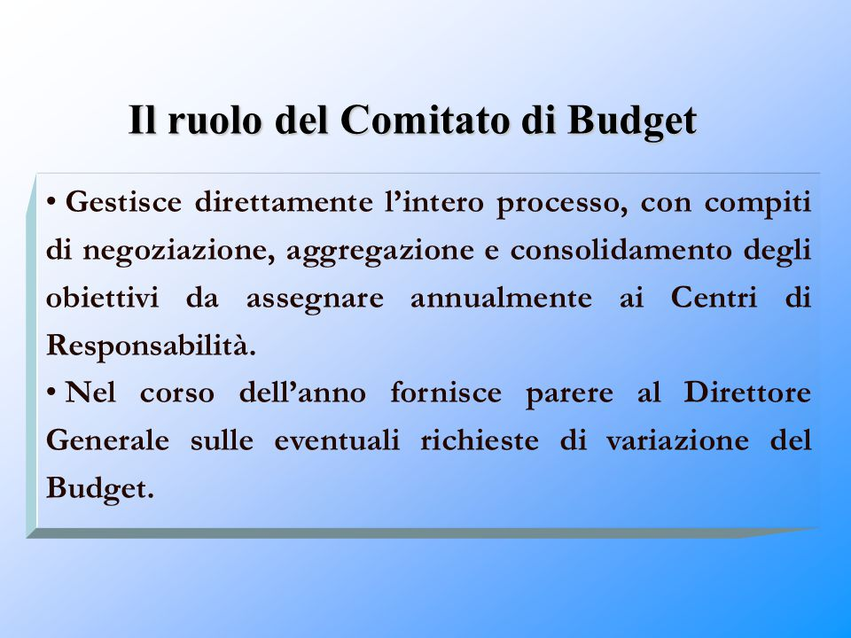 Il ruolo del Comitato di Budget