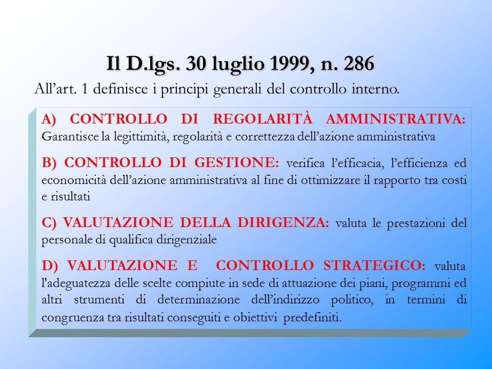 Il D.lgs. 30 luglio 1999, n. 286 All'art. 1 definisce i principi generali del controllo interno.