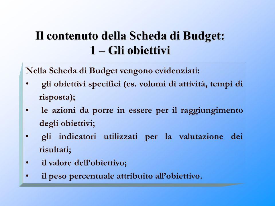 Il contenuto della Scheda di Budget: 1 – Gli obiettivi