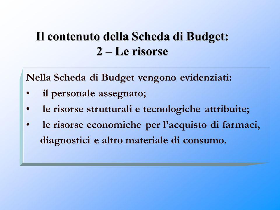 Il contenuto della Scheda di Budget: 2 – Le risorse