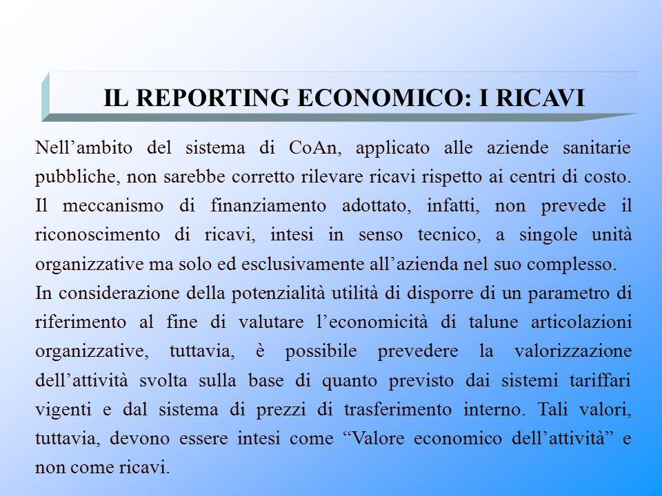 IL REPORTING ECONOMICO: I RICAVI