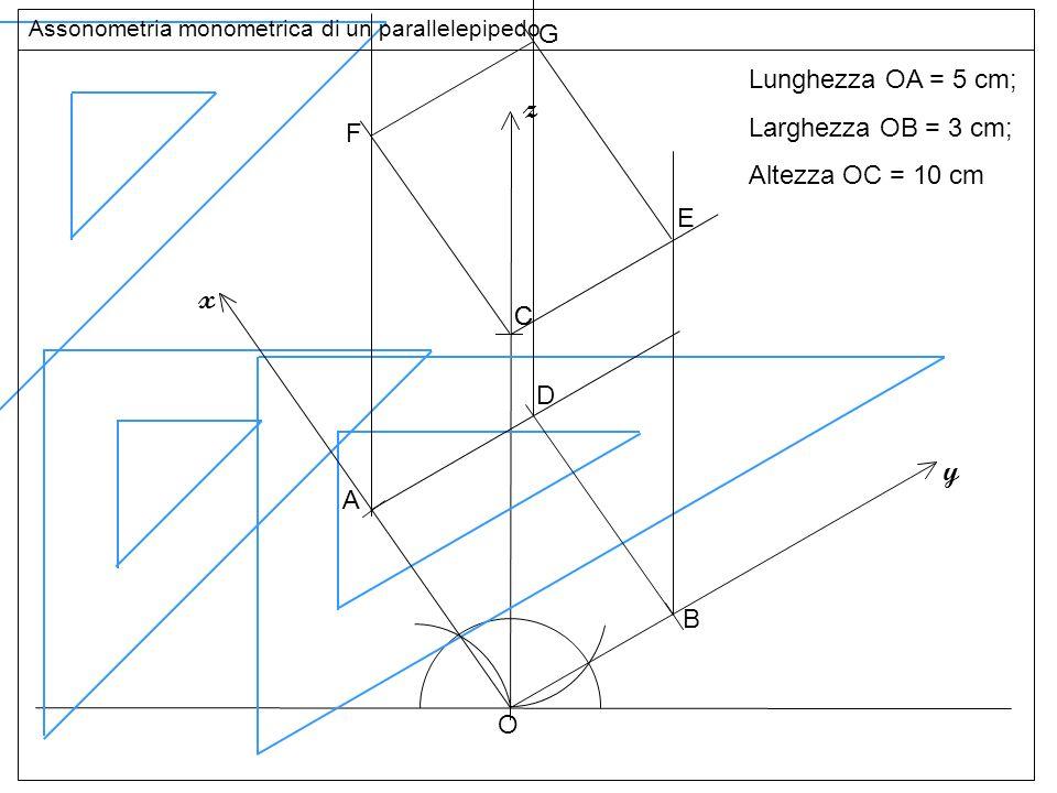 Base superiore z x y G Lunghezza OA = 5 cm; Larghezza OB = 3 cm;