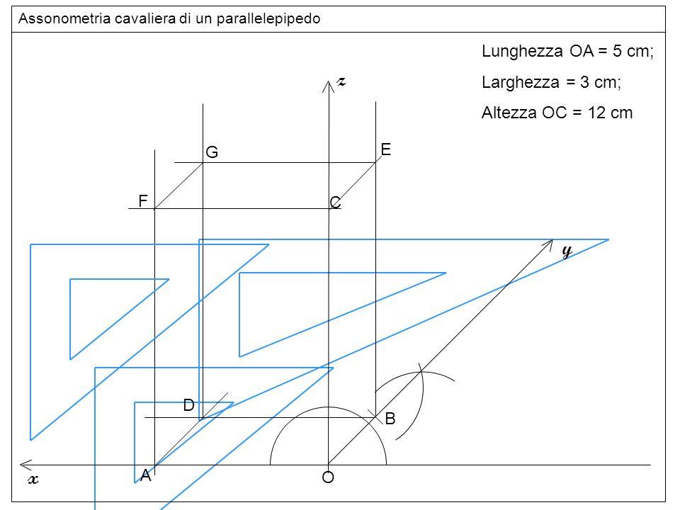 Base superiore z y x Lunghezza OA = 5 cm; Larghezza = 3 cm;