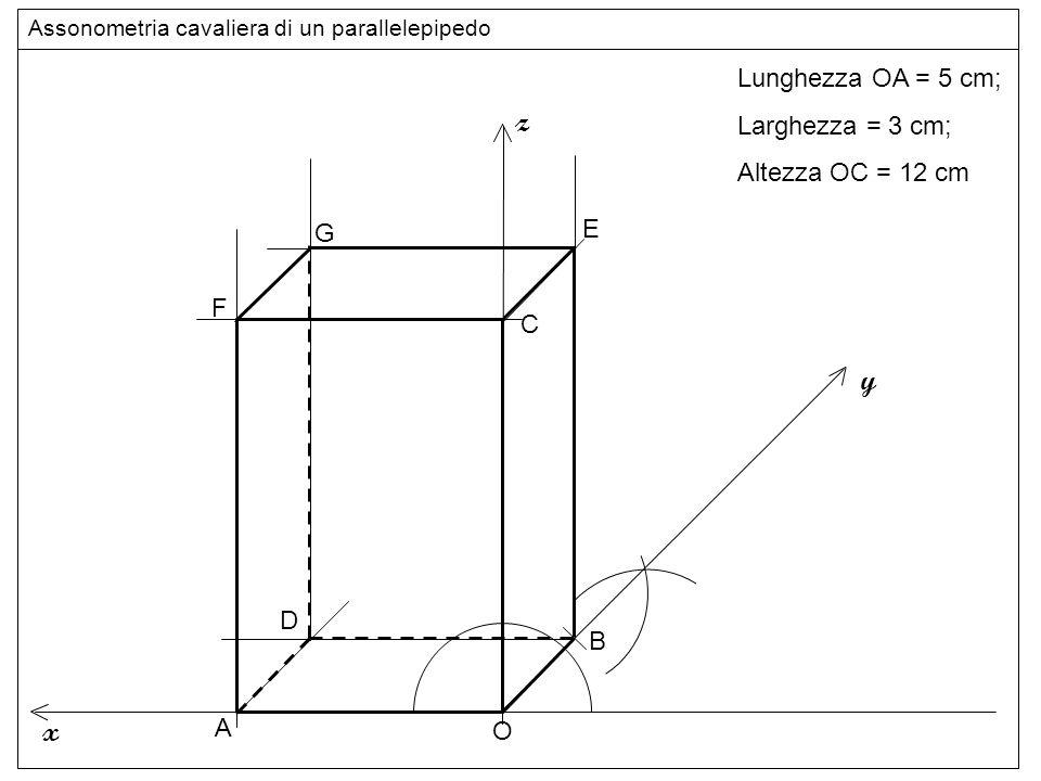 Linee z y x Lunghezza OA = 5 cm; Larghezza = 3 cm; Altezza OC = 12 cm