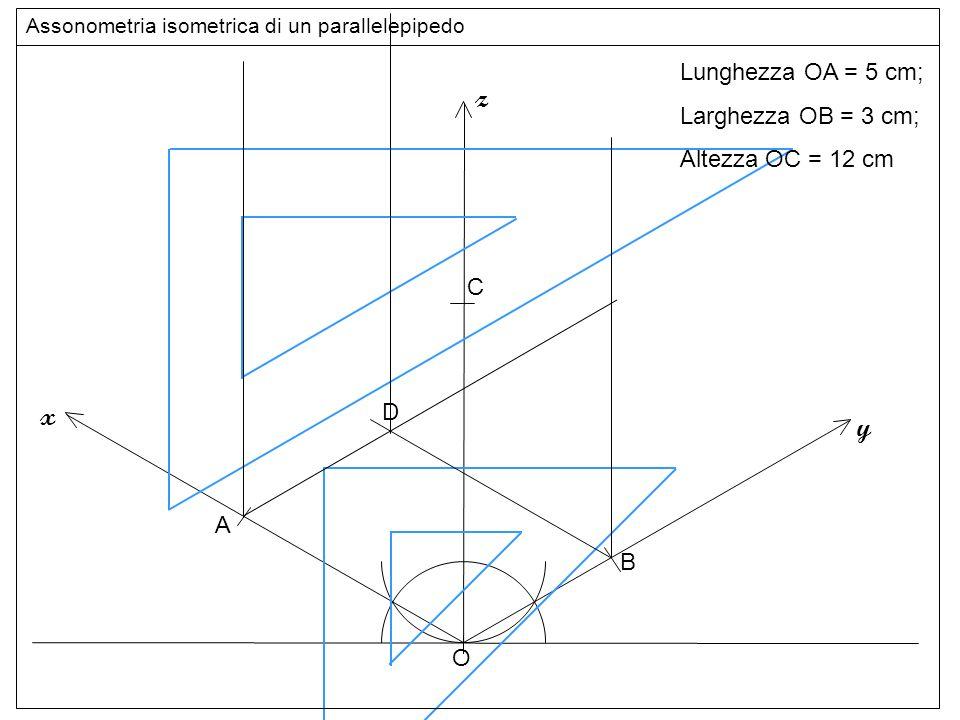 altezze z x y Lunghezza OA = 5 cm; Larghezza OB = 3 cm;