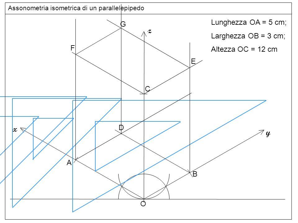 Base superiore z x y Lunghezza OA = 5 cm; G Larghezza OB = 3 cm;