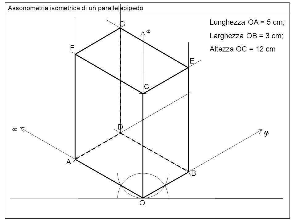 linee z x y Lunghezza OA = 5 cm; G Larghezza OB = 3 cm;